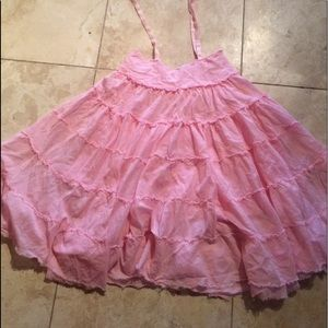 Cut light pink tiered skirt or dress